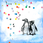 'Party penguins'. Aquarel + linosnede + confetti.