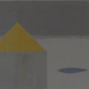 黄色い屋根  木版画  540*480