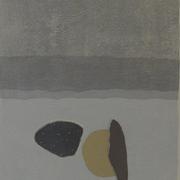 浜辺の夢  木版画  47*33