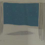 朝の星  木版画