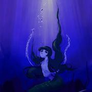 千子零太さんの創作作品より、人魚。可愛らしい顔と化け物のような触手を持つ彼が、海の底で物思う様子。