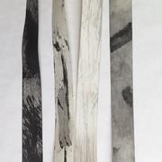Il pleut sur le toit de zinc, détail des rubans de pluie, papier Kraft, 5x926 cm, 2017