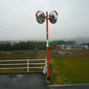 台風の影響で倒れたカーブミラーの更新(木戸町789-1 南側T字交差点)