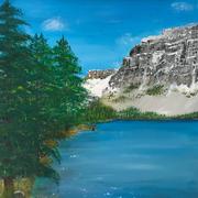 'Fischer am Bergsee': Acrylgemälde
