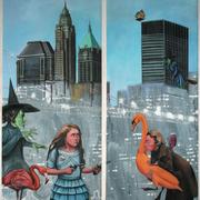 Wilder Westen (2-teilig, gerahmt), 2015, Öl auf Holz, je 220 x 62 (Gesamtbreite incl. Rahmen 130 cm) cm