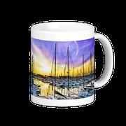 Taza amanecer en el puerto olímpico, serie BCN colors, Barcelona, España