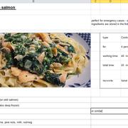 TopicFile (xls), opened for modification | Salmon-pasta recipe