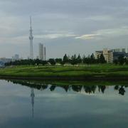 隅田川の水面が鏡のように穏やかな日の風景