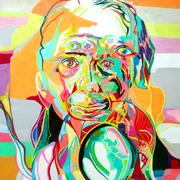 Kopf, 2017. (Farbstift, Acryl, PE-Folie auf HDF. 50 x 40 cm)