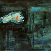 Schwarzanglermännchen l Öl auf Leinwand 40x30 cm