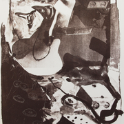"""""""Völker hört die Signale"""", Lithographie, 2015, Auflage 4, 56 x 39 cm; Graphische Arbeit von Micha Hartmann aus Esslingen bei Stuttgart"""