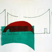 Innenort 3, 57 x 78 cm, Lithographie, 2016;  Serie von Micha Hartmann aus Esslingen