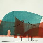 Innenort 7, 57 x 78 cm, Lithographie, 2017;  Serie von Micha Hartmann aus Esslingen