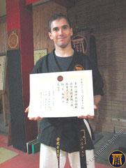 Bastien - 1er dan diplome japonais