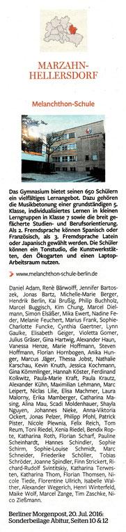 Berliner Morgenpost 20.07.2016: Liste der AbiturientInnen am Melanchthon-Gymnasium 2016