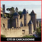 Visite de la Cité de Carcassonne, visite guidée par audioguide, avec RC VTC NARBONNE ROGER CORBIERE transport pas cher transport à petit prix
