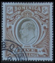 Dominica: 1903-7 KEDVII 5s Value.