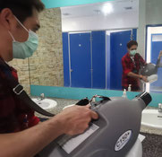 Quickly sanitise all surfaces in toilets