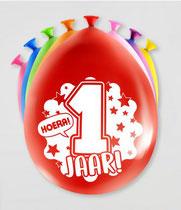 """Ballonnen """"Hoera 1 jaar!"""" 8 stuks € 2,25"""