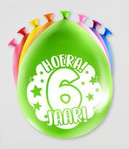 """Ballonnen """"Hoera 6 jaar!"""" 8 stuks € 2,25"""