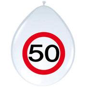 Ballonnen verkeersbord 50 8 stuks € 2,50