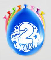 """Ballonnen """"Hoera 2 jaar!"""" 8 stuks € 2,25"""