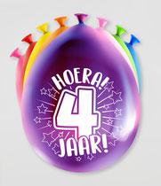 """Ballonnen """"Hoera 4 jaar!"""" 8 stuks € 2,25"""