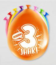 """Ballonnen """"Hoera 3 jaar!"""" 8 stuks € 2,25"""