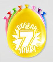 """Ballonnen """"Hoera 7 jaar!"""" 8 stuks € 2,25"""