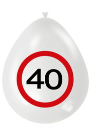 Ballonnen verkeersbord 40 8 stuks € 2,50