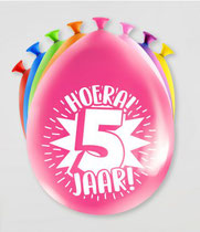 """Ballonnen """"Hoera 5 jaar!"""" 8 stuks € 2,25"""