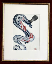 Japanese Nihonga painting showing koi fishes swimming in sake