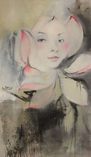 花中  FACE IN A FLOWER 120X70CM  布面油画  OIL ON CANVAS   2008