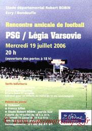 Affichette  PSG-Legia Varsovie  2006-07