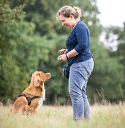 Frau trainiert mit Hund für die Zusatzqualifikation