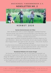 Newsletter MusikInsel Finkenwerder e.V. Herbst 2020 Seite 1