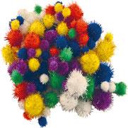 Pompoms bunt glitzer Mix, 10-45 mm