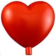 Kunststoffherzen rot mit Stutzen