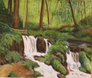 瓜割の滝  油彩10号