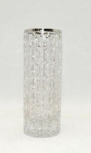 Große Glasvase, 800er Silbermontierung,Formgeblasen, geometrische Muster,22,5 cm, € 79,00