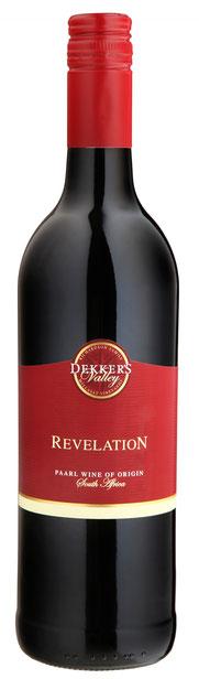 Dekker's Valley Revelation 2014   15.% Vol- Red blend:  Cabernet Sauv. 52%, Shiraz 35%, Tempranillo 13% Ein feiner und fruchtiger Rotwein hergestellt aus 3 bedeutenden südafrikanischen Rebsorten. Feine Tannine mit einer bemerkenswerten Frucht, macht ihn z