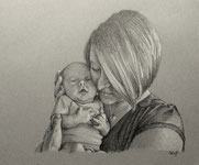 A custom family portrait illustration featuring a loving new mom and her child.