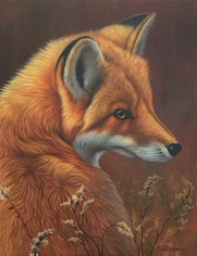 Kunstbild, Fuchs, ölfarbe, original