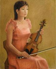 バイオリンを持つ女性               (油彩・F15 )