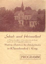 Bild: Teichler Programm Wünschendorf Schulfest1952