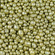 Tonperlen glitzer gold