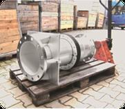 Rohrdurchführung mit Ringraumabdichtung in Schub- u. Zugsicherer Ausführung mit Wandbefestigung