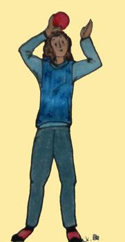 Zeichnung einer Frau, die einen Ball über dem Kopf von einer Hand zur anderen weitergibt.