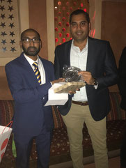 Prafull Shikare (r) receives the best batter & fielder awards