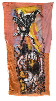 Donald im Blitz, 2001, Holzdruck/Textil, collagiert, 197 x 88 cm, Besitz des Künstlers, Foto: Helge Mundt